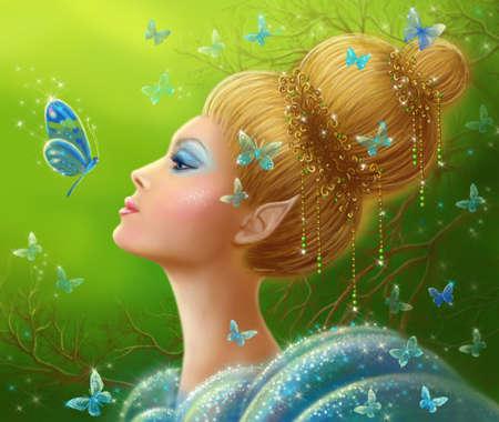beautiful face woman: Magic butterflies Fantasy beauty woman fairy Stock Photo