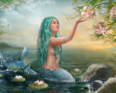 fantasy girl: Mermaid in the Sunset with Green Hair Lilies