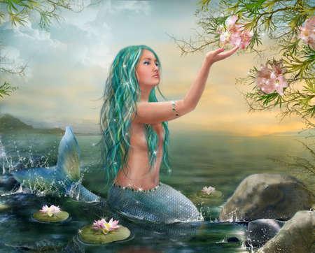 cola mujer: Sirena en la puesta del sol con los lirios de pelo verde