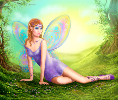 sits: Fantasy fairy butterfly sits on grass in wood.