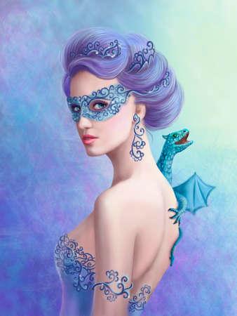dragones: Mujer de la fantasía de invierno, bella reina de la nieve en la máscara con el azul del dragón Foto de archivo