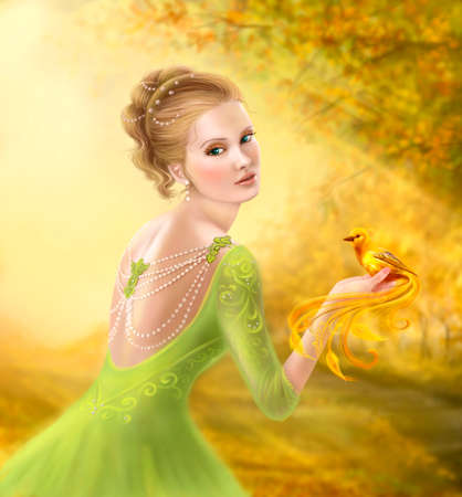 outdoor glamour: Beautiful romantic woman and fantasy gold bird