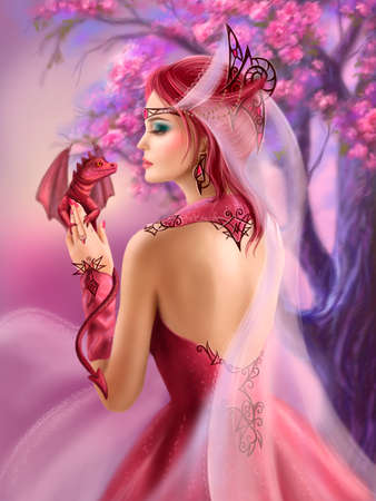 Beautiful fantasy woman queen and red dragon sakura background