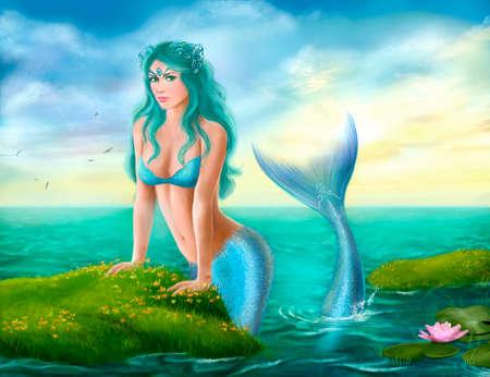Fantasie-schöne junge Frau, Meerjungfrau in Meer Standard-Bild