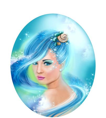 Horoscope Zodiac - Fantasy Aquarius portret beautifulbn girl Stock Photo