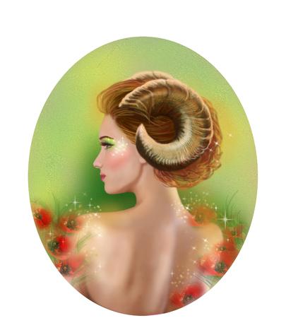 aries: Hor�scopo del zodiaco - Fantas�a Aries portret beautifulbn chica Foto de archivo