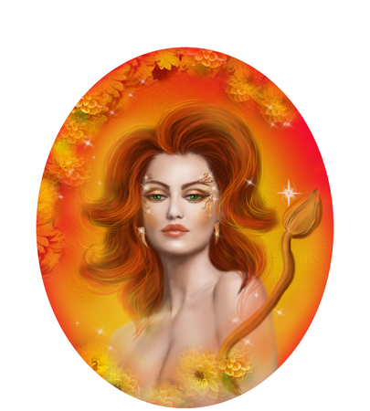 Horoscope Zodiac - Fantasy Leo portret beautifulbn girl
