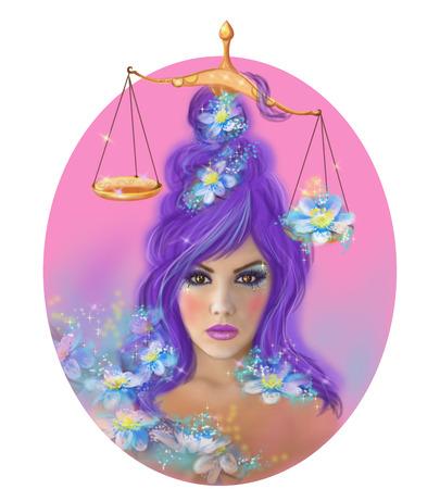 horoscope: Horoscope Zodiac - Fantasy Libra portret beautifulbn girl