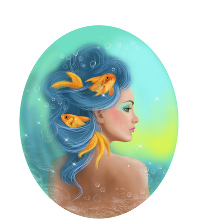 illustration and painting: Horoscope Zodiac - Fantasy Pisces portret beautifulbn girl