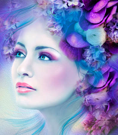 perfect face: Fantasy Woman flowers Stock Photo