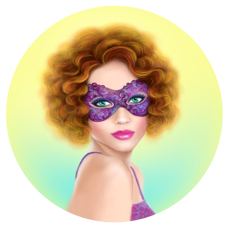beautiful face woman: beautiful retro woman wearing venetian masquerade carnival mask at party over holiday