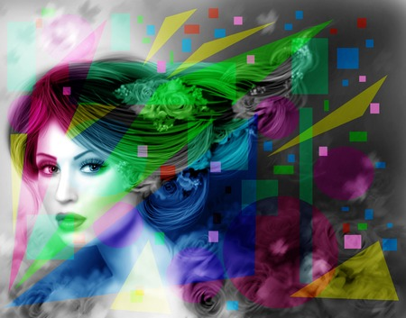 beautiful eyes: abstract Illustration beautiful Fantasy woman with purple hairstyle and flowers Stock Photo