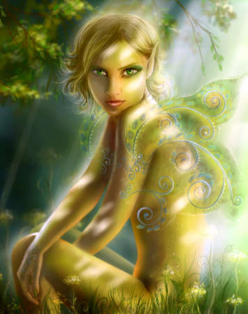 fairy woman: elf in wood. Green fairy fantasy illustration