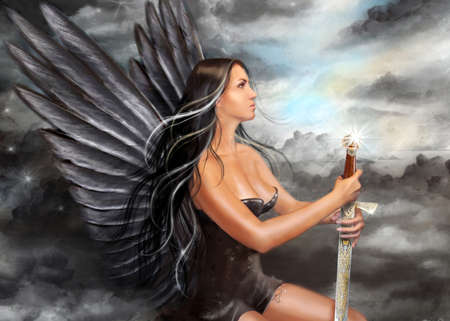 angel girl: illustration Fantasy Black angel Stock Photo