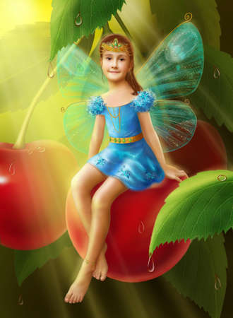 beauty girls: fantasy little fairy the girl butterfly on cherry