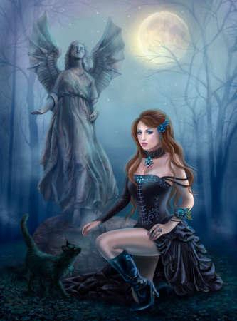 bruja sexy: Mujer hermosa de la fantasía con el gato negro sobre una estatua. madera por la noche. estilo gótico