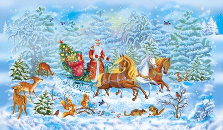 Christmas celebrations.Santa in winter in snow wood. Horses. Animals Stock Photo