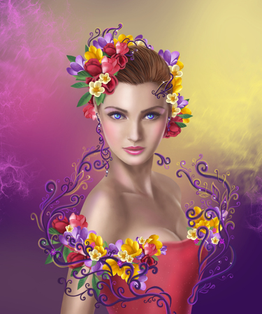 fantasy art: Beautiful Fantasy fairy woman with hairstyle color flowers
