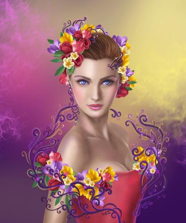 fantasia: Mulher bonita fada da fantasia com flores cor penteado