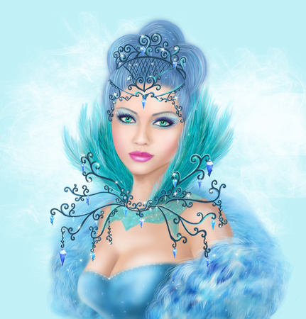snow queen: Fantasy winter woman, beautiful snow queen Stock Photo