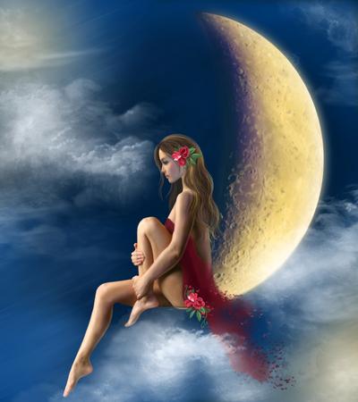 fantasia: bela noite fada da mulher na lua, no céu, nas nuvens. No vestido vermelho. Ilustração