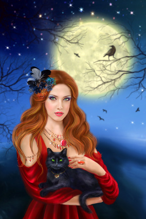sexy black woman: Sorcerer and black cat. Night landscape, moon. Stock Photo