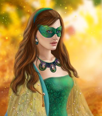 snow queen: Fantasy woman, beautiful snow queen in green mask. Autumn snow Stock Photo