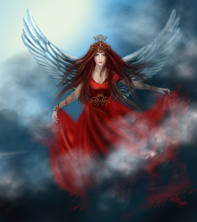 Woman queen with wings in red dress in clouds, in sky. Fantasy illustration.