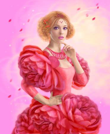 fashion dress: Beautiful woman spring in dress roses. Dress flower illustration. Stock Photo