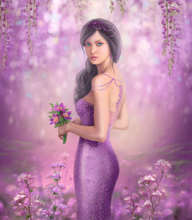 portrait: Spring Illustration beautiful Fantasy woman with purple flowers in sakura background Stock Photo