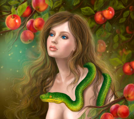 temptation: Apple temptation. Beautiful woman Eve and snake. Young woman and apple. Illustration.