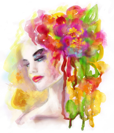 abstract portrait: Spring woman. Abstract portrait beautiful watercolor, hand painted drawing