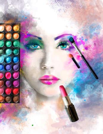 face make up: Woman face. fashion illustration. make up, abstract