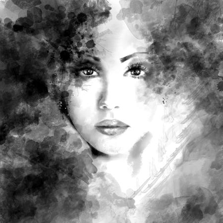 Mooie vrouw gezicht. Abstracte mode-illustratie Stockfoto