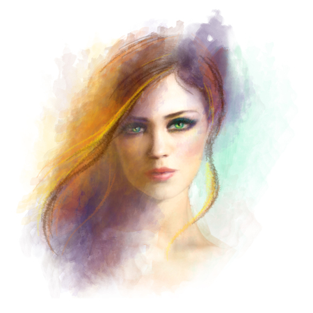 Beautiful woman face. Abstract woman portrait. Summer illustration Stock Photo