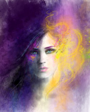 beautiful face: bstract woman portrait. Day and night illustration