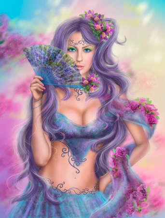 face painting: beautiful girl fantasy with fan