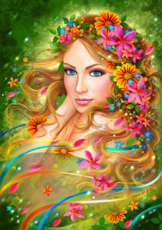 Fantasy Spring Beautiful fairy woman with summer flowers. nature. fashion portrait Stock Photo