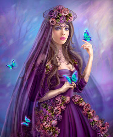 fantasy makeup: Beautiful woman fairy and blue butterflies. Fantasy illustration