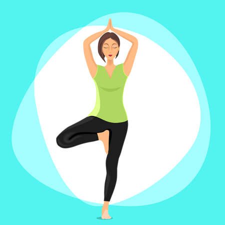 engaged: Vector. A woman in a green t-shirt in tree pose engaged in yoga