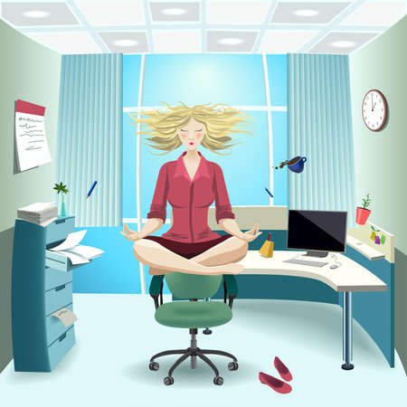 levitation: Vector. Girl in the office doing yoga.