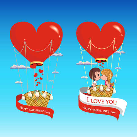 hot couple: Vector. Couple in love on a hot air balloon with a red heart on Valentines Day. Illustration