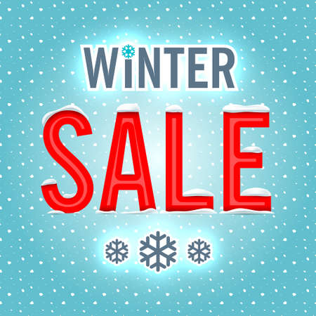 snow drifts: Vector. Winter sale red letters on a blue background.