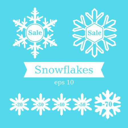 four species: White snowflakes on a blue background. Winter sale. Discounts. Four species.