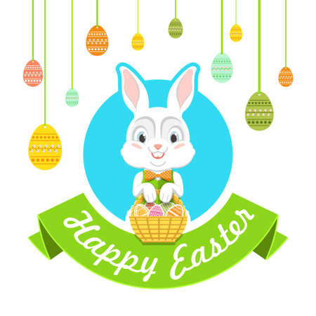 easter rabbit: Happy Easter. Vector illustration with easter bunny.