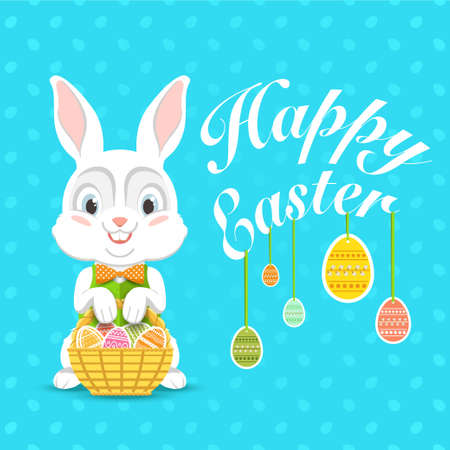 waistcoat: Happy Easter. Vector illustration with easter bunny.