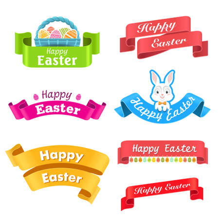 swag: Easter. Vector illustration with easter.  Set - labels, colored ribbons and other elements. Illustration