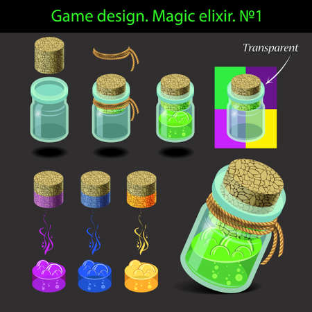 elixir: Vector illustration. Transparent magic elixir in different colors with a wooden stopper. Game design.