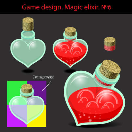 elixir: Vector illustration. Transparent magic elixir in different colors with a wooden plug. Game design.