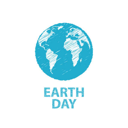 freehand drawing: Earth Day in blue colors. Vector illustration.